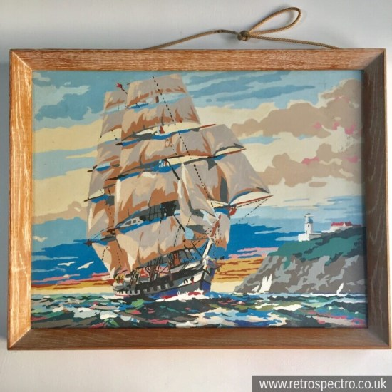 Vintage Painting By Numbers - sailing ship & lighthouse - in glazed wood frame