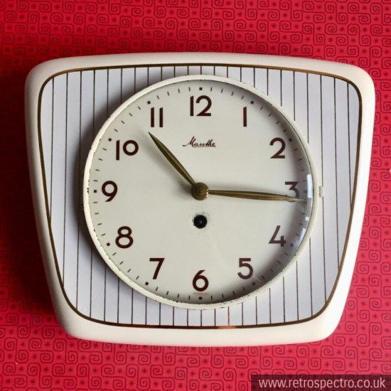 Vintage Mauthe ceramic wall clock circa 1950's