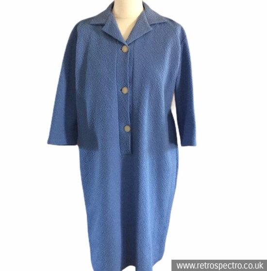 Vintage 60's Crimpelene dress blue ¾ sleeves textured fabric size 18/20