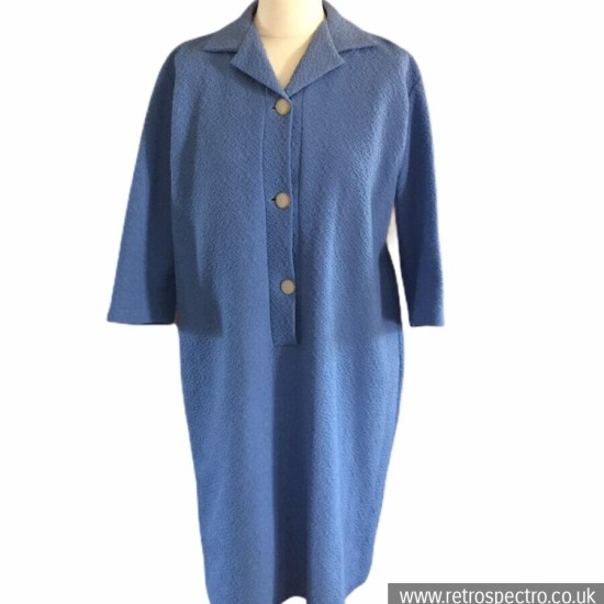 Vintage 60's Crimpelene dress blue ¾ sleeves textured fabric size 18/20