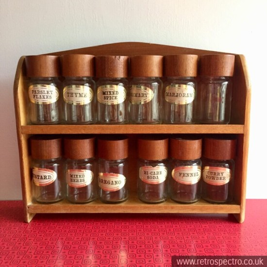 Vintage Wooden Spice Rack complete with 12 glass jars