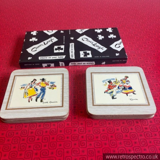 Clover Leaf Coasters featuring dancing figures