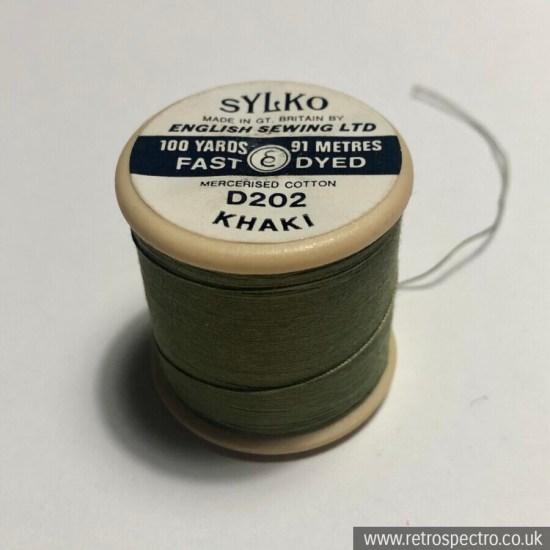 Vintage Sylko Cotton Reel - Khaki D202