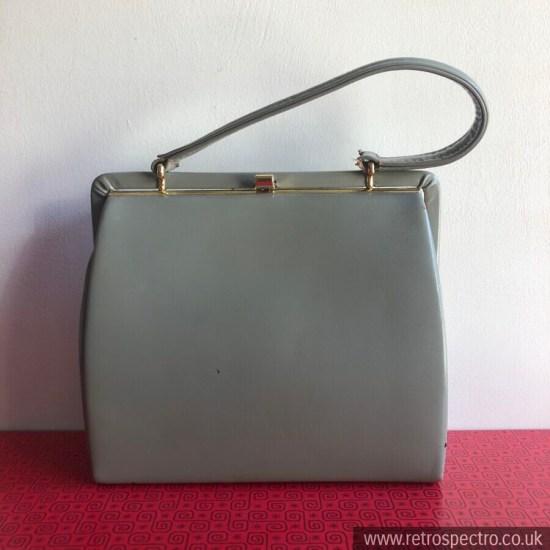 Eros Handbag Real Leather Elbeif Gold Clasp Light Grey + Suede Lining