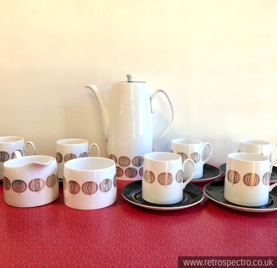 Queen Anne Bone China Coffee Set Hebe Pattern