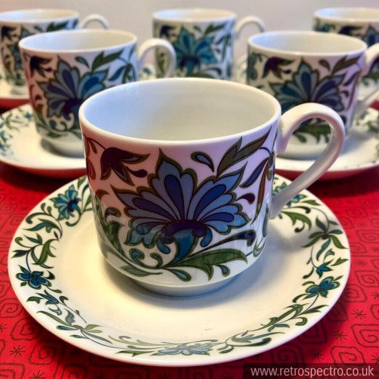 Spanish Garden Cups & Saucers Midwinter Pottery Vintage