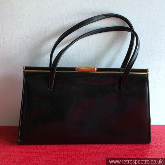 Jonelle Handbag Leather Black Handbag 1950s