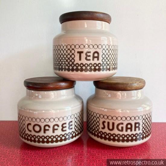 Hornsea Coral Tea Coffee Sugar Jar Set