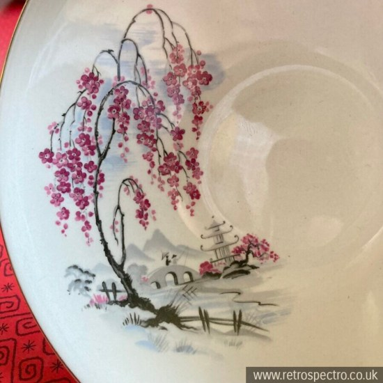 Hostess Tableware by British Anchor 4 x Fruit bowls 60s Vintage Blossom Japan