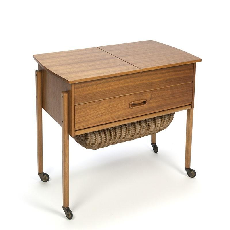 vintage danish sewing kit side table retro studio
