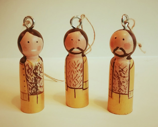 Handmade rock and indie Christmas decorations by Florence and Belle