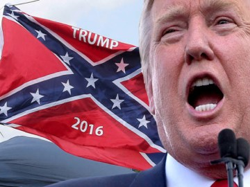 A vendor flies the confederate flag prior to a Republican U.S. presidential candidate Donald Trump rally in Pittsburgh, June 11, 2016.   REUTERS/Aaron Josefczyk - RTX2FOXD