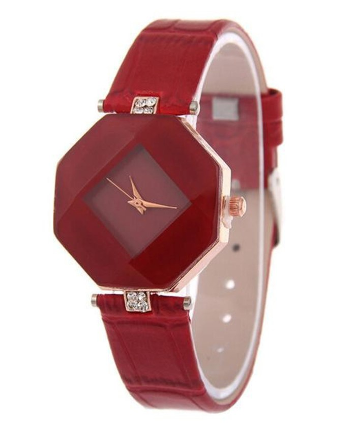 Diamond Cut Stone Strapped Analog Watch For Girls|Red
