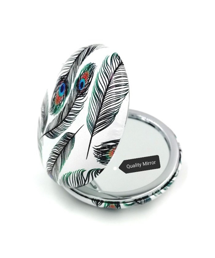 Peacock Feather on White Compact Mirror with Dual Mirror