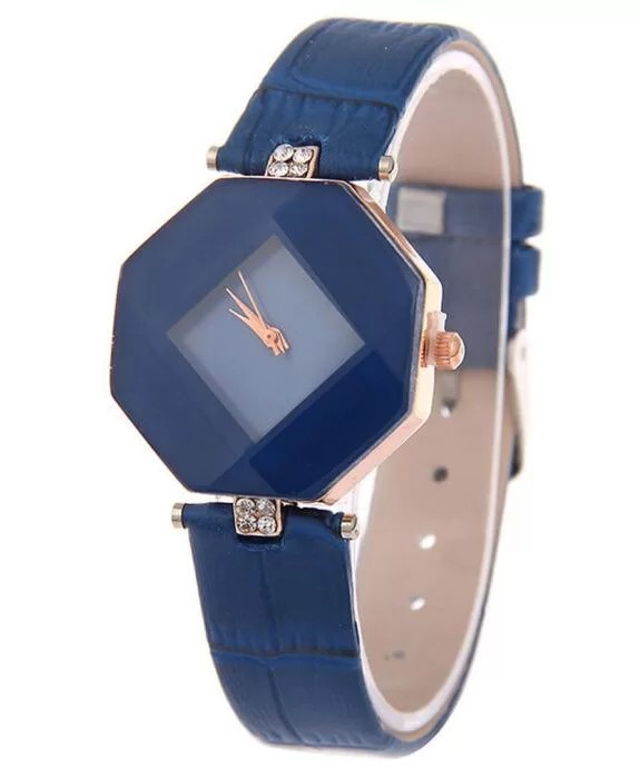 Diamond Cut Stone Strapped Analog Watch For Girls|Blue