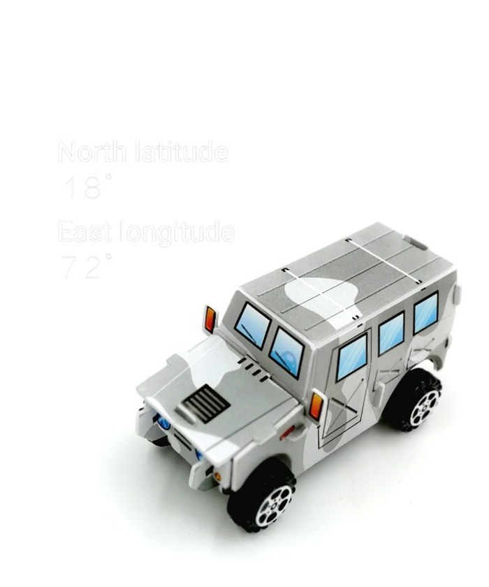 3d DIY Grey Camouflage pull back Gypsy Toy for kids