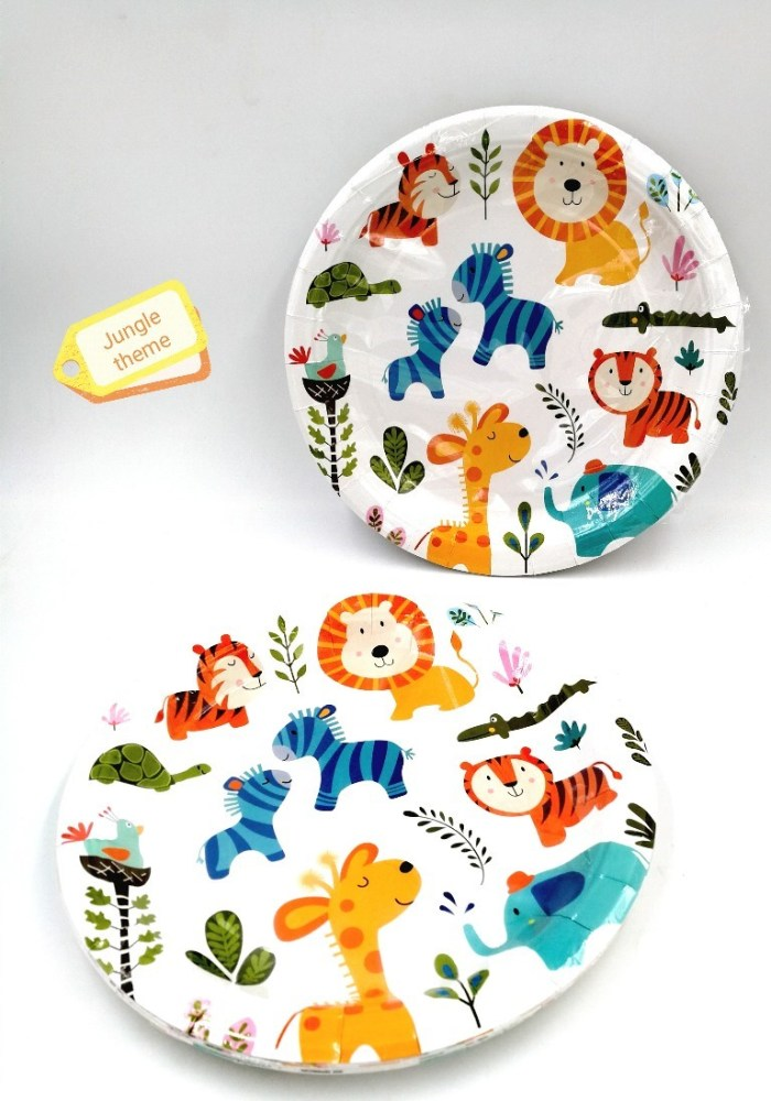 animal theme party paper plates for birthday