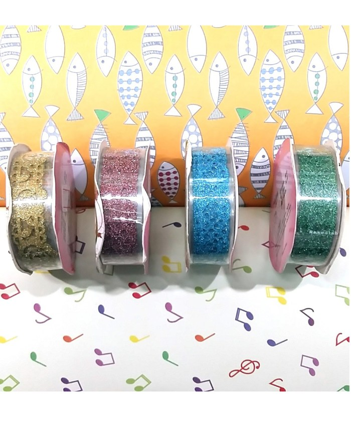 Pack of 4 Glittered Lace Design Cello Tapes for Craft