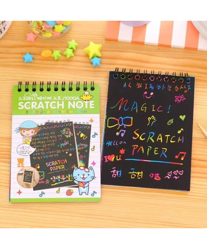 Magical Scratch Note Book With Wooden Stick