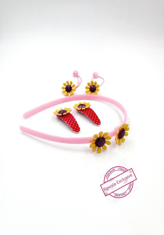 sunflower design hair band and clip for girls fashion accessories online