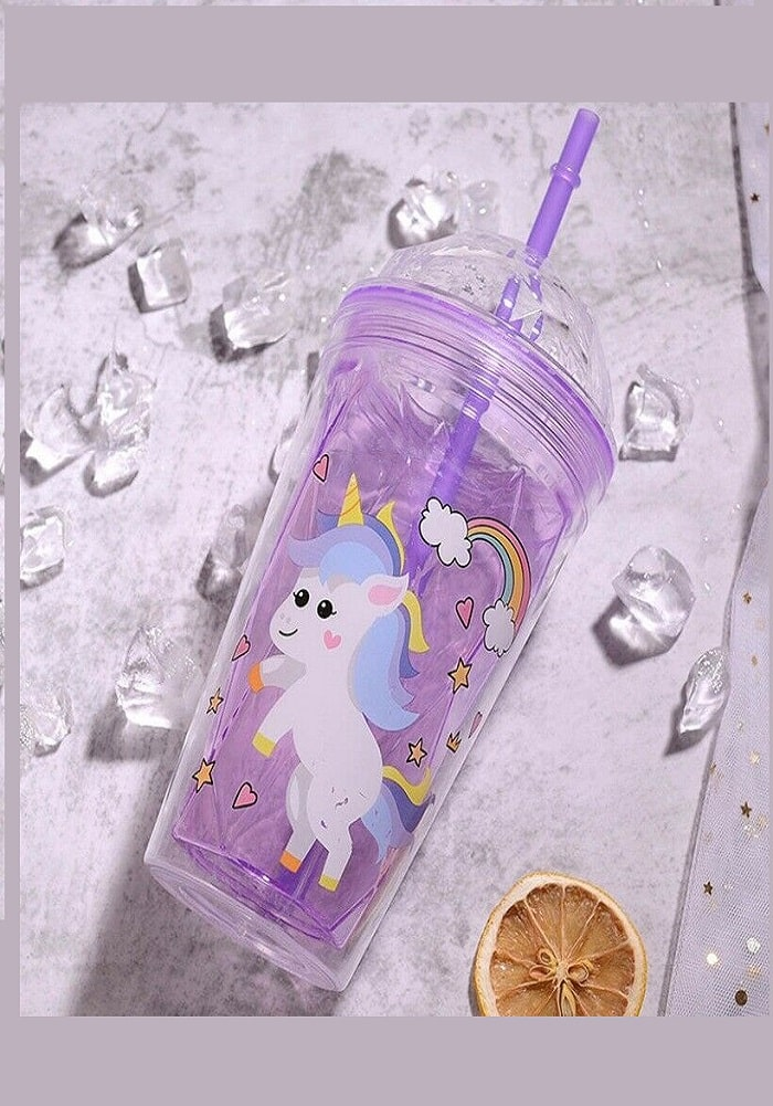 birthday return gifts unicorn theme glass sipper cup straw