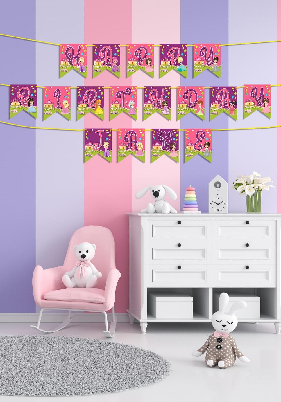 princess theme birthday decorative banner
