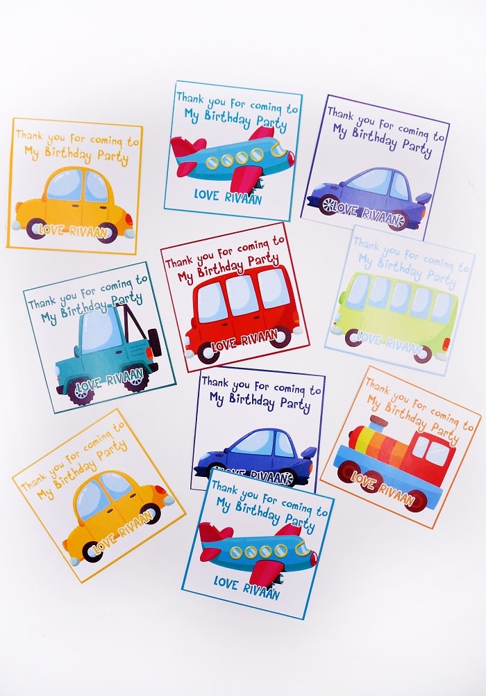 vehicle theme thank you cards birthday