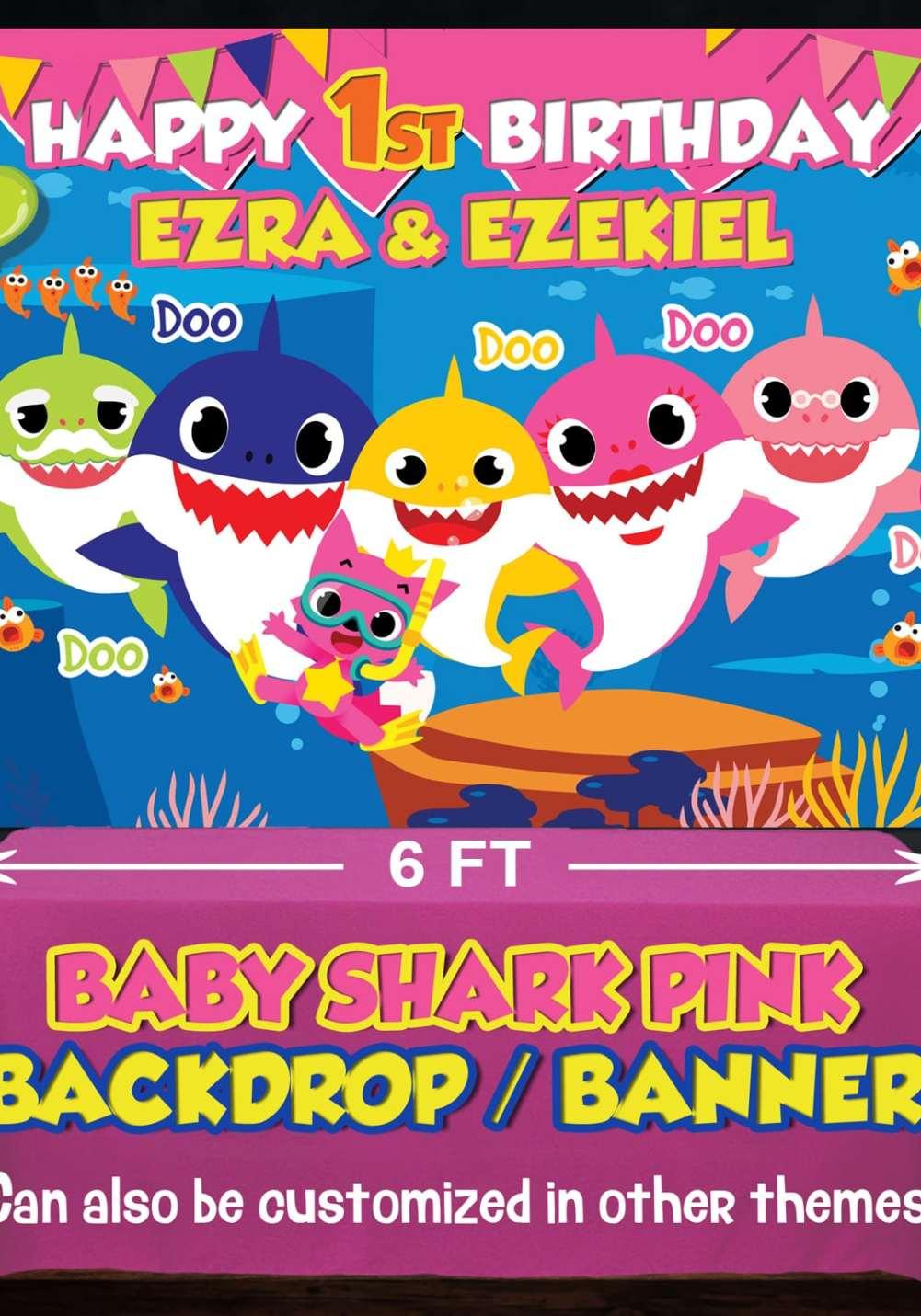 baby shark theme backdrop baby doo doo shark