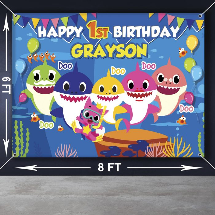 baby shark theme backdrop for birthday party