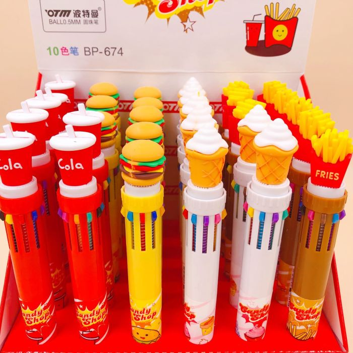 fast food burger fried 10 in 1 pens