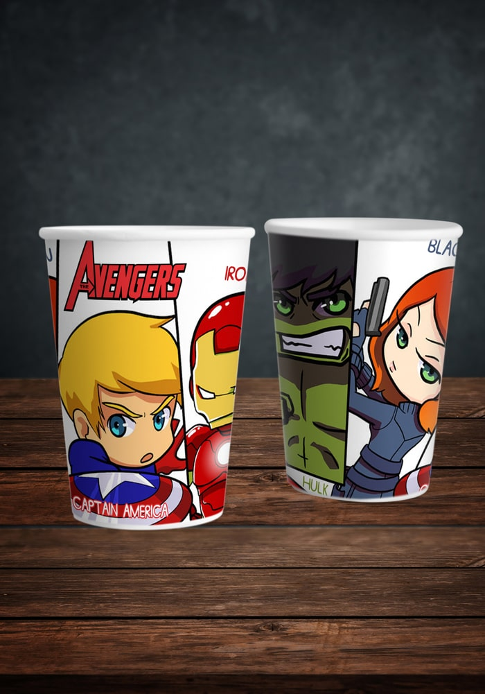 marvel avenger paper cups super heroes theme