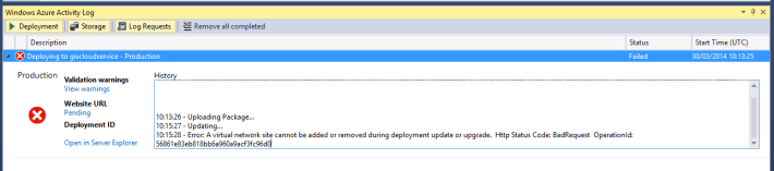 A virtual network site cannot be added or removed during deployment update or upgrade