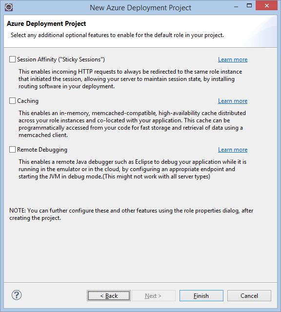 Azure Deployment Project optional features