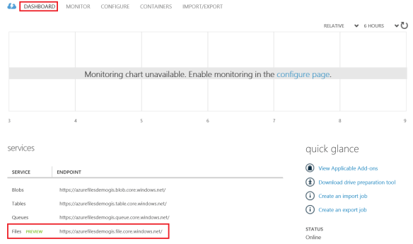Azure Files enabled Dashboard