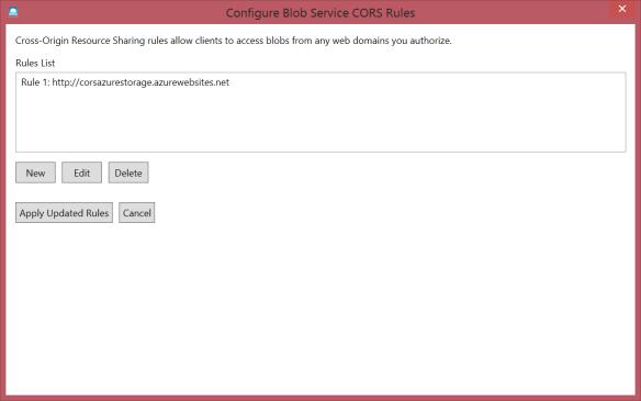 Azure Storage Explorer Configure Blob Service CORS Rules