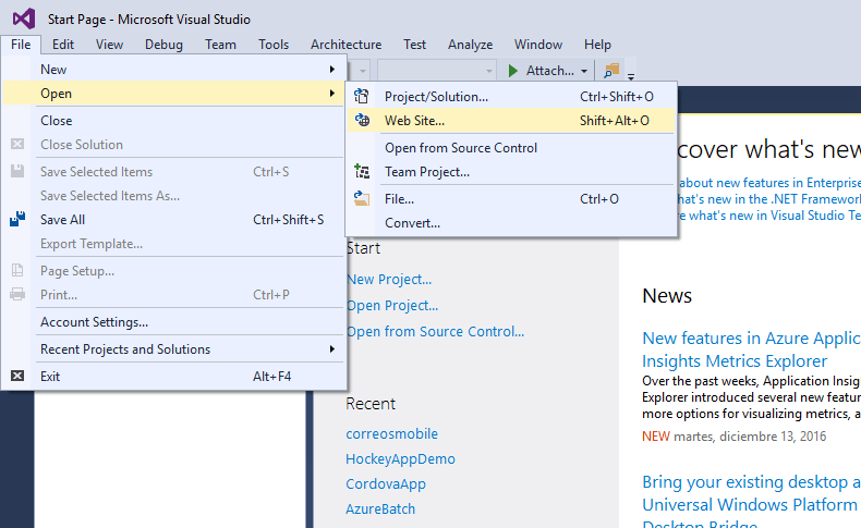 Visual Studio - Open - Web Site