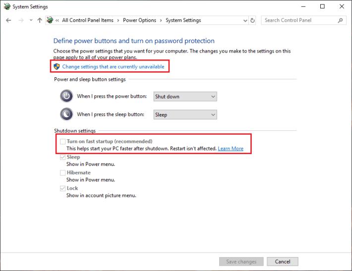 Deshabilitar el inicio rápido en Windows 10