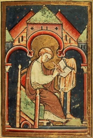 BL58271 Add 39943 f.2 A scribe (probably Bede) writing, by Bede, Latin (Durham); British Library, London, UK; copyright unknown