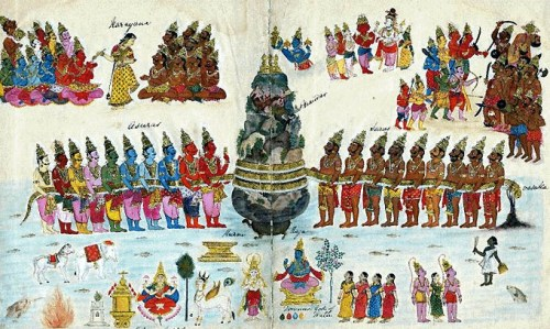 An image showing devas and asuras churning the ocean for Amrita