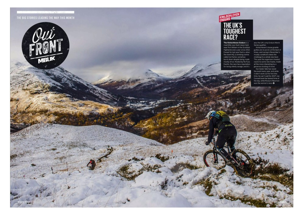 mountain bike photographer Reuben Tabner's image features a rider descending stage one of the Kinlochleven Enduro.