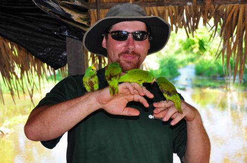 Jason goes for the Parakeet-perching record