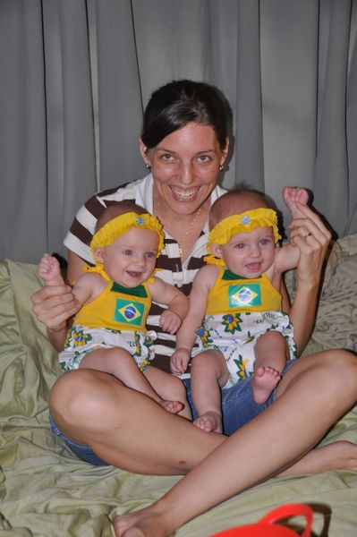 The girls cheer on Brazil to victory!