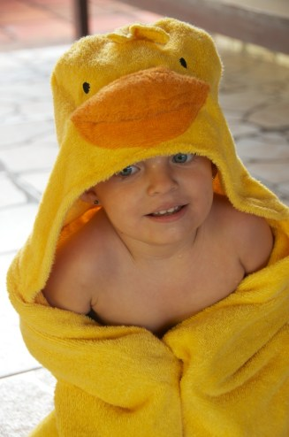 Becca the duck in her pool gear