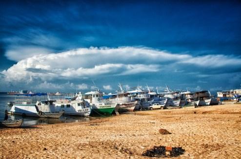 Boats line Santarem's shoreline.