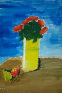 NR 13 Mondschilderen, Titel: stilleven met vaas, Type: Acryl op papier, maten inclusief lijst 33 x 43 cm