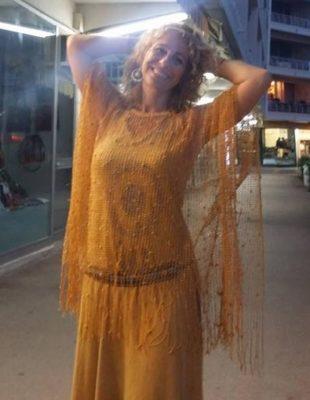 top crochet jaune