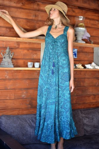 Robe longue soie