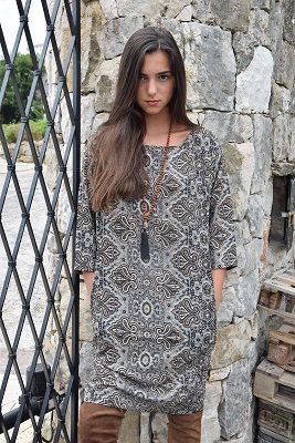 Robe soie gris et noir