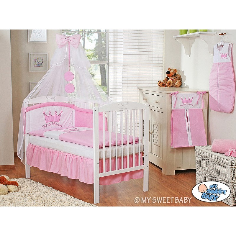 lit et parure de lit bebe prince ou princesse rose