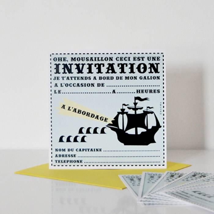 cartes d invitation pirate lot de 8